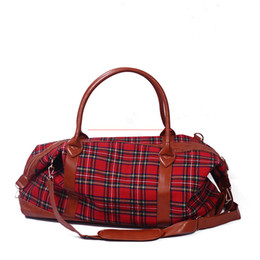 canvas weekend bag women UK - Plaid Large Capacity Weekend Bag Vintage Fashion Xmas Duffle Bag with PU Faux Leather Overnight Tote Bag DOM103398