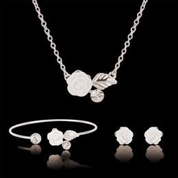 Acrylic Fashion Necklace Set Canada - Bracelet Earrings Necklace Jewelry Set Elegant Fashion Women Rhinestone & Acrylic Rose White Gold Plated Party Jewelry 3-Piece Set JS261