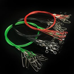 Steel Leaders Canada - 3 Colors Fishing Line Wire Connector 50cm Anti-bite Fishing Line Steel Wire Trace Leader With Swivel 10Pcs Lot