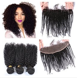Lace Frontal Brazilian Kinky Hair Canada - 7A+ Grade Brazilian Kinky Curly Human Hair With Frontals 4Pcs Lot Brazilian Kinky Curly Lace Frontal Closure 13x4 With Weaves Bundles