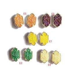Chinese  Newest 5 Colors Candy Resin Druzy Drusy Earrings Silver Gold Plated Hexagon Geometry Stone STUD Earrings Christmas gift manufacturers