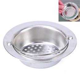 Kitchen Drain Basket NZ - 1Pcs 9cm Stainless Steel Bathoom Kitchen Sink Strainer Waste Plug Drain Stopper Filter Basket Kitchen Accessories