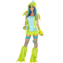Costumes Verts Sexy Pas Cher-Wholesale-Neon Green and Blue Faux fourrure et cuddle Plush Tube-style Mini Dress Deluxe Sexy Girls Costumes adultes sexy L1328