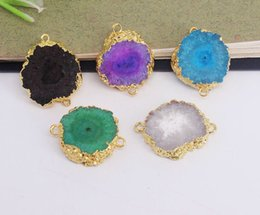 $enCountryForm.capitalKeyWord Australia - 5pcs Druzy Agate Slice Connectors,Gold Plated Natural Druzy Gemstone Connectors Beads in Mix color,For Making Jewelry