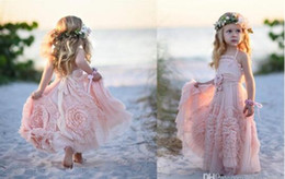 Flower Girls Beach Dresses For Weddings Canada - Cheap Pink Flower Girls' Dresses For Wedding 2016 Lace Applique Ruffles Kids Formal Wear Sleeveless Long Beach Girl's Pageant Gowns