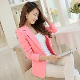 Barato Casaco Branco Preto Elegante-Hot Selling Fashion Elegant Business Ternos de escritório formal Wear Women Long Sleeve Pink / Black / White Blazer Suit Jacket XXL