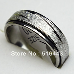 $enCountryForm.capitalKeyWord Canada - 10pcs Frosted Stainless steel Double Layer Spin Rotate Mens Womens Silver Rings Wholesale Lots A-309