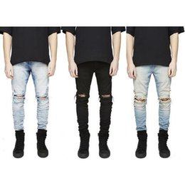 Combinaison Denim Livraison Gratuite Pas Cher-REPRESENTER Jeans cool Mens Designer Clothes Fashion Denim Jumpsuit Noir / Bleu clair Skinny Destroyed Ripped Distressed Jeans Livraison gratuite