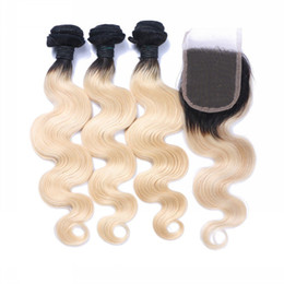 Closure Color 1b middle parting online shopping - Brazilian B Body Wave Blonde Ombre Human Hair Weaves Bundles with Closure Free Middle Part Double Weft Human Hair Extensions Dyeable