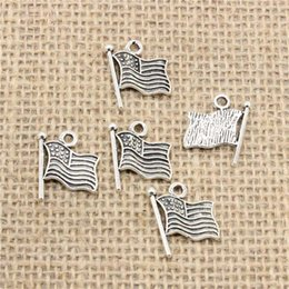 Usa Flag Pendant NZ - Wholesale 110pcs Charms Tibetan Silver Antique Bronze Plated usa flag 12mm Pendant for Jewelry DIY Hand Made Fitting