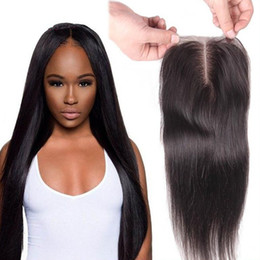 Middle Part Closure Piece Canada - 8A Grade Malaysian Straight Human Hair Lace Top Closures Piece 4x4'' Middle Free Three 3 Way Parting Bleached Knots With Baby Hair