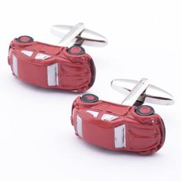 Make Custom Cars NZ - Free shipping New Arrival Brass Shirts Mens Button Up Red Car Make Custom Novelty Cufflinks 960054