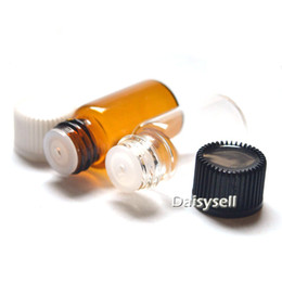 Discount mini bottles - Fast Shinpping Essential Oil 3ml Clear Vials Amber Glass Bottle Orifice Reducer Plug Mini Perfume Sample Tubes Small Bot
