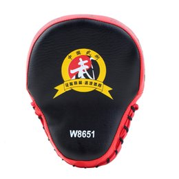 muay thai pads wholesale UK - PU Leather Boxing Mitt MMA Training Target Focus Punch Pad Karate Muay Thai Taekwondo Sanda Kick Training Glove Pads 2Color