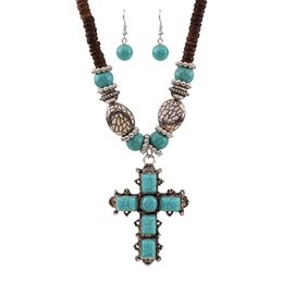 $enCountryForm.capitalKeyWord UK - Fashion Boho Style Cross Jewelry Set Malaysia Imports Natural Coconut Shell Vintage Blue Stone Necklaces Earring Sets HD-208