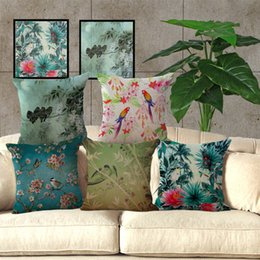 Discount cherry cushion - Watercolor Paintings Birds Flowers Sakura Oriental Cherry Tree Pattern Linen Cotton Pillowcase Cushion Cover Sofa Pillow
