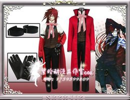 Japanese Cartoon Anime Black Butler Grell Sutcliff Cosplay Costume Long Coat + Shirt + Vest + Pants + Glove + Arm Belt + Tie + Glasses from anime japanese man costume manufacturers