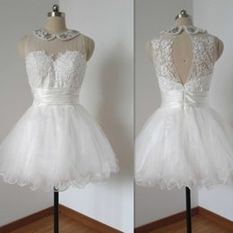 Short Ball Gowns Wedding Dresses NZ - Short Ball Gown Wedding Dresses Tulle Appliques Lace Real Photos Sheer Bridal Gowns 2017 Sexy Beach Dress For Brides