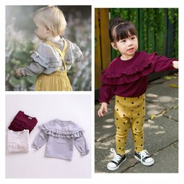 Tee-shirts Pour Bébés Pas Cher-INS Fashion 2017 Autumn Baby Clothes Ruffles Solid Color Girls T-shirt manches longues T-shirt Bottoming Shirt Classic Grey White Girls Tops Tees 153