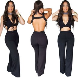 Barato Europa Por Atacado Bodycon-Atacado- Primavera Verão Preto Sexy Hollow Out Backless Bodycon Jumpsuit V Neck Sem mangas Mulheres Europa Style Rompers Mujer Roupas casual