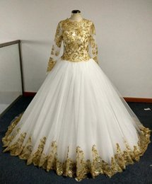 $enCountryForm.capitalKeyWord Canada - Real photes Bridal Gowns Champagne Gold Sequins Appliques and Sheer Long Sleeves Princess Ball Gown Floor Lenth evening Bridemaid Dresses
