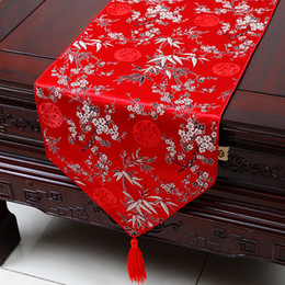 BamBoo taBle cloths online shopping - Extra Long inch Plum Bamboo Table Runner Fashion Luxury Decor Dining Room Table Cloth High End Silk Brocade Protective Pads x33 cm