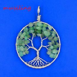 Reiki Healing Wholesalers Australia - Life Tree Pendants Natural Gem Stone Pendulum Round Reiki Charms Accessories European Healing Chakra Amulet Fashion Mens Jewelry