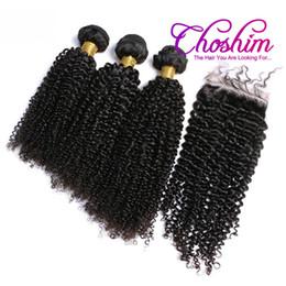 virgin malaysian hair baby curly 2019 - Slove Rose Brazilian Kinky Curly Virgin Hair With Closure 100% Human Hair 3 Bundles With Silk Base Closure Bleached Knot