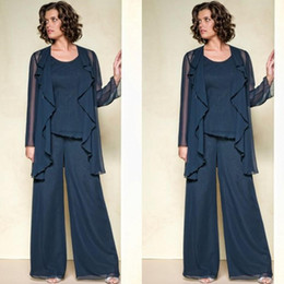 plus size navy blue suit Canada - Navy Blue New Chiffon Mother Of The Bride Pant Suits Dresses 2020 Summer Long Sleeve Custom Made Plus Size Mother Pant Suits