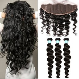 $enCountryForm.capitalKeyWord Canada - Malaysian Virgin Hair Loose Wave Lace Frontal Closure with Bundles Natural Color Free Parting Lace Frontals With Virgin Human Hair Weaves
