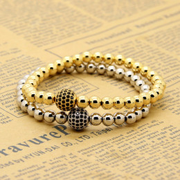 mens rose gold chain bracelet Canada - Wholesale 10pcs lot 6mm Real Gold, Rose Gold, Platinum Plated Copper Round Beads With 10mm Black Cz Stretch Mens Bracelet