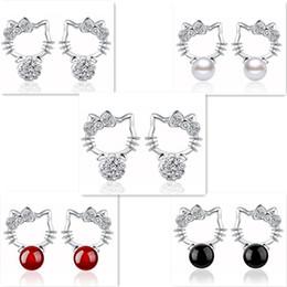 28a407b3f Shambhala Hello Kitty Stud Earrings Cute KT Cat S925 Sterling Silver  Earrings with Rhinestone Pearl Agate for Women Girls Jewelry