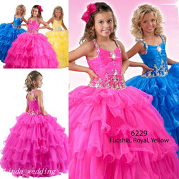 Robe Jaune Et Bleu Pas Cher-Pageant Dress Princess Party Cupcake robe de bal Fuchsia Bleu Royal Jaune Fille Pour Fille court Jolie Dress For Little Kid