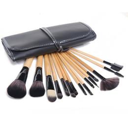 Kabuki Black Makeup Brushes Canada - Wood color makeup brushes kit 15pc make up brushes set high quality natural hair eyeshadow brush goat hair kabuki makeup brushes