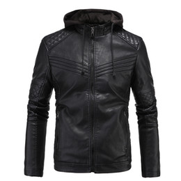 Motorcycle Jacket Stand Collar NZ - British Hoodies Leather Jacket Mens 3XL Plus Velvet Faux Jacket Coat Winter Warm Men Stand Collar Motorcycle Jackets With Hoodies J161026