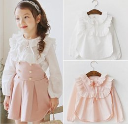 Coller Les Filles Pas Cher-New Spring Autumn Girls Shirt Enfant Ruffles Collar Lace Up Chemises manches longues Blouse Enfants Causal Princess Cotton Shirts Blanc Rose 12050