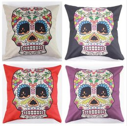$enCountryForm.capitalKeyWord Canada - 45cm Hot Sale Black Purple Skulls Cotton Linen Fabric Throw Pillow 18inch Fashion Hotal Office Bedroom Decorate Sofa Chair Cushion
