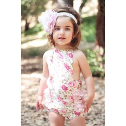Toddler Leopard Jumpsuit Canada - 15% off! floral pattern baby rompers newborn leopard halter toddler Girl Clothing lace Infant Jumpsuit 4pcs(2pcs rompers+2pcs hairbands)