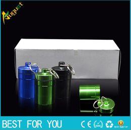 Wholesale Hot sale key holder Aluminum Waterproof Pill Shaped Box Bottle Holder Container llaveros chaveiros Keychain Keyring pill case pill box stash