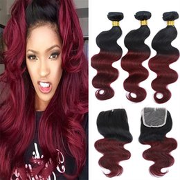 34 inches hair Australia - Ombre Peruvian Hair With Closure 1B Burgundy Body Wave Hair 3 Bundles With Closure Two Tone 1B 99J Peruvian Hair