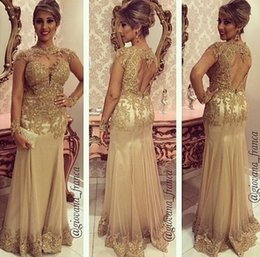 $enCountryForm.capitalKeyWord NZ - Hot Sale Gold Mermaid Evening Dresses Women Formal Sexy Sheath High Neck with Illusion Long Sleeves Beaded Appliques Keyhole Back