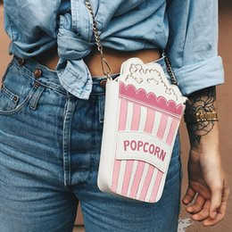 black purse gold chain 2019 - Wholesale- Fashion personality embroidered letters cute popcorn shape chain shoulder bag messenger bag ladies handbag cl