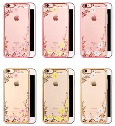 Discount secret iphone - For iPhone 6 6S Plus 7 7plus Luxury Bling Diamond Electroplate Frame Soft TPU Case Secret Garden Flower Clear Cover Shel