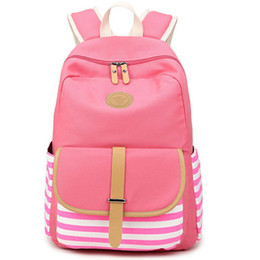 navy stripes UK - Women Backpack Korean Fashion Traveling Backpack Navy Style Strips Students Schoolbag Large Capacity Laptop Bag Pink Hot Sale
