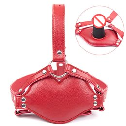 Gode Masque Bouche Bondage Pas Cher-Red Faux Leather Harness Hommes Femmes Dildo Insert Open Mouth Gag Head Bondage Hood Sex Mask Jeux pour adultes Erotic Sex Toys