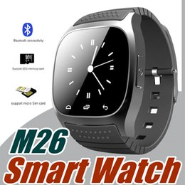 Wholesale 100X Smartwatch M26 Bluetooth Wireless Wearable Device Smart Watch for Andriod mobile phone Sport Watch with Retail Box G BS