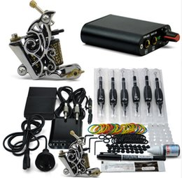 Discount cheap coiling machines Professional Tattoo Kit 1 Tattoo Guns Cheap 8 Wrap Coils Pigment Induction Complete Tattoo Machine Set for Beginner Body