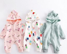 China INS Newborn Baby fall long sleeve round collar with cap zipper romper 100% cotton Full printed cartoon pattern outwear Stereo ear romper cheap baby winter romper patterns suppliers