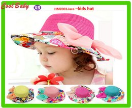 $enCountryForm.capitalKeyWord NZ - Korean Children crochet Hat Sun hat Gauze Flower Bow Straw Sun hat for girls Beach Hats around 54mm size for 3-8 aged kids 5Colors HM003