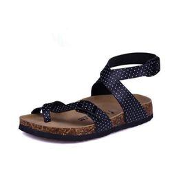 China Wholesale- Fashion Designer Cork Sandals 2016 New Women Casual Summer Beach Men Gladiator Buckle Strap Sandals Shoe Free Shipping supplier designer flats suppliers